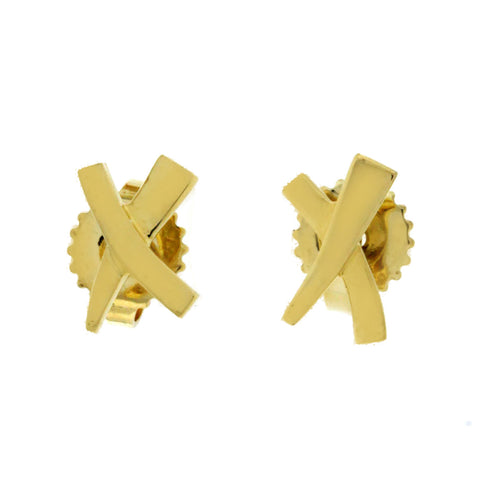 Auth Tiffany & Co. 18K Yellow Gold 9 mm X  Earrings »U59