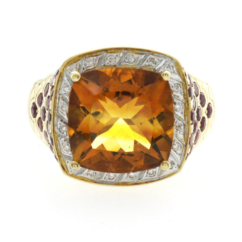 18K Yellow Gold 7.15 CT Citrine & Ruby With Diamonds Engagement Ring