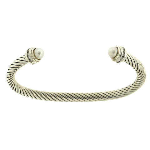 "David Yurman 925 Silver 5 mm Cable Diamonds Pearl Cuff Bracelet Bangle 7""  »B2"