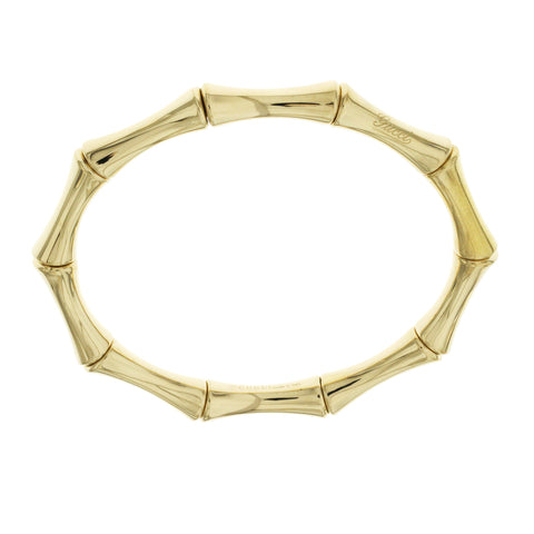 "Auth GUCCI 18K Yellow Gold Bamboo Stretch Bangle Bracelet Size 7"" » B01"