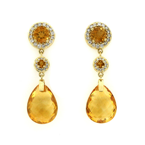 15 CT Citrine & 0.28 CT Diamonds in 14K Yellow Gold Teardrop Earrings