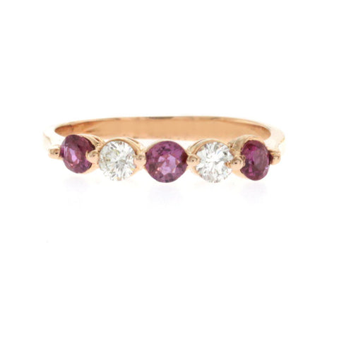 0.40 CT Pink Sapphire & 0.30 CT Diamonds in 14K Rose Gold Wedding Band Ring