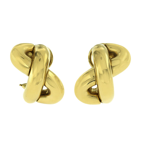 Auth Seaman Schepps 18K Yellow Gold Crossover X  Earrings