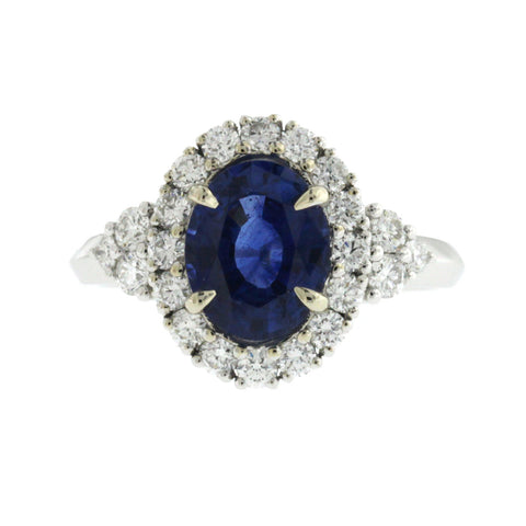 2.14 CT Ceylon Sapphires & 0.89 CT Diamonds in 18K White Gold Engagement Ring