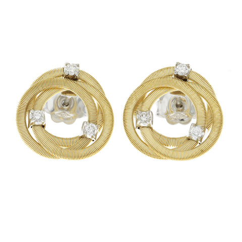 Au Marco Bicego 18K Yellow Gold Diamond Jaipur Links Stud Earrings »U24