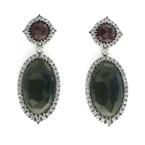 Rose Cut 37 CT Multi Sapphire 1.24 CT Diamond 18K White Gold Drop Earrings