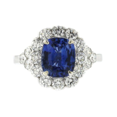 3 CT Ceylon Sapphires & 1.48 CT Diamonds in 18K White Gold Engagement Ring