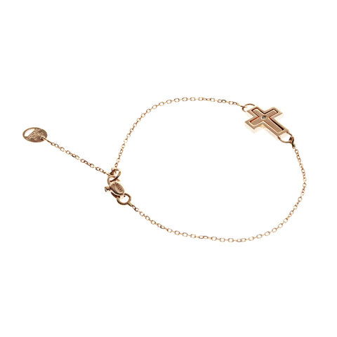 "Auth DAMIANI 9K Rose Gold Diamond Cross Bracelet Size 6""-7"" $768 »U221-2"