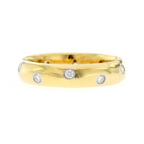 Auth Tiffany & Co. 18K Yellow Gold Platinum Diamonds Etoile Band Ring 7.25