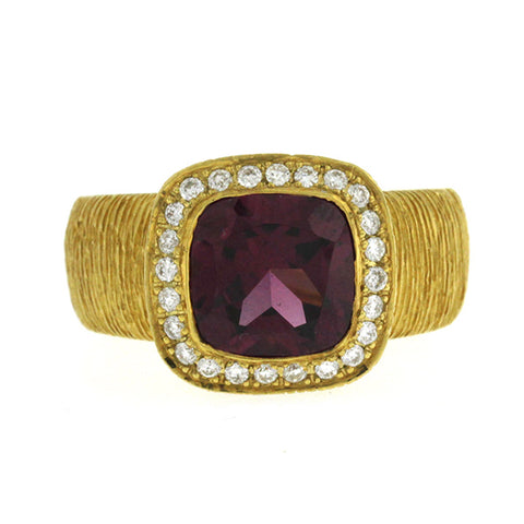 2.25 CT Pink Tourmaline & 0.26 CT Diamonds in 18K Gold Engagement Ring