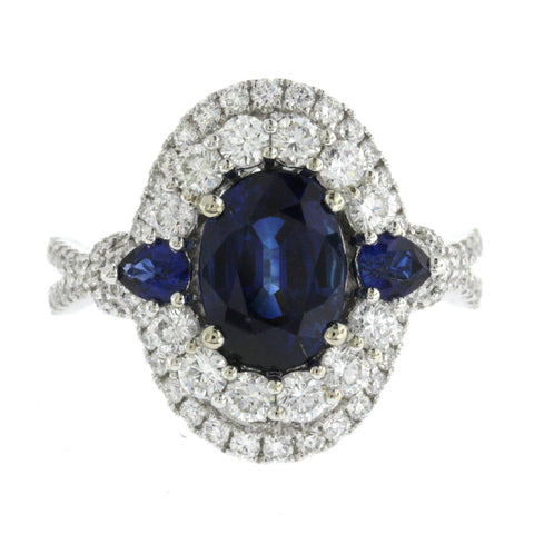 2.57 CT Ceylon Sapphires & 1.09 CT Diamonds in 18K White Gold Engagement Ring