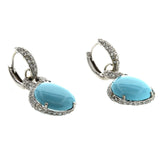 12.24 CT Natural Turquoise & 1.10 CT Diamonds in 18K White Gold Drop Earrings