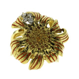 Estate 18K Yellow Gold Diamonds & Citrine With Enamel Flower Ring  Size 6.5