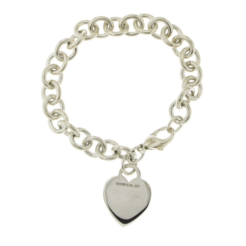 "Auth Tiffany & Co 925 Sterling Silver Heart Tag Charm Bracelet Size 7"" » U28"