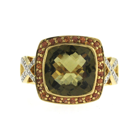 18K Yellow Gold Green and Orange Quartz with Diamonds Engagement Ring Size 7
