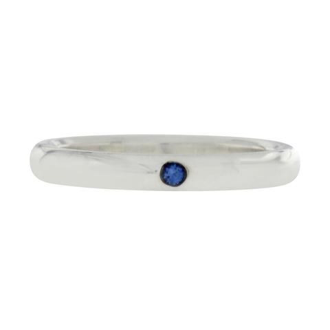 Tiffany & Co 925 Sterling Silver One Blue Sapphire Peretti Band Ring 6.5 »U324-1