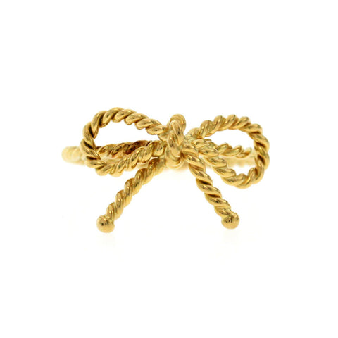 Authentic Tiffany & Co 18K Yellow Gold Bow Twist Wire Ring Size 5.5 »U315-2