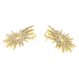 0.55 CT Natural G SI1 Diamonds in 14K Yellow Gold Fire works Earrings