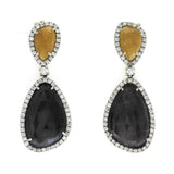 Rose Cut 33 CT Multi Sapphires 1.06 CT Diamonds 18K White Gold Drop Earrings