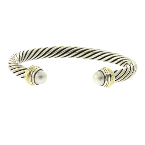 "David Yurman 925 Silver 14K  Yellow Gold 7 mm Pearl Cuff Bangle Size 7"" »B2"
