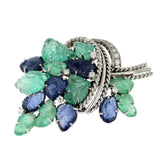 Emerald & Blue Sapphire With Diamond in 14K White Gold Floral Pin Brooch