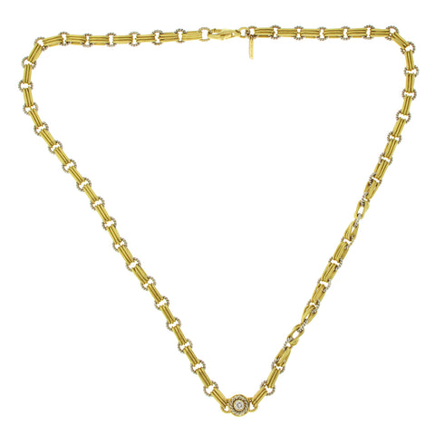 Pepi 18K White & Yellow Gold 33 Grams Diamond Link Chain Necklace Size 17""