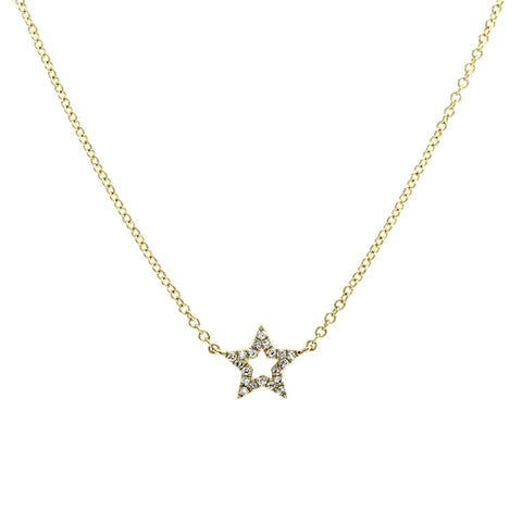 "EF Collection 14K Yellow Gold Diamond Star Necklace 16""-18"" » U211-1"