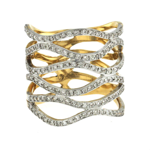 1.24 CT Diamonds in 18K White & Yellow Gold Open Waves Band Ring