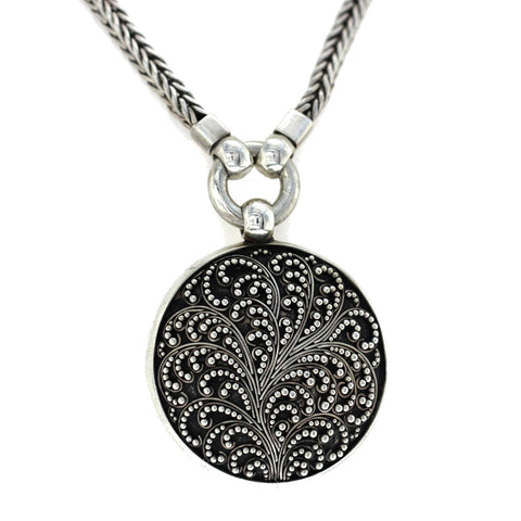 "Auth Lois Hill 925 Sterling Silver Filagree Round Necklace Size 14""-16"" »U22"