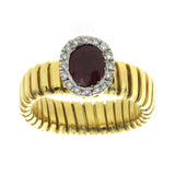 18K Yellow Gold 1.20 CT Ruby & 0.15 CT Diamonds Engagement Ring Size 10