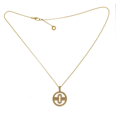 "BULGARI BVLGARI 18K Yellow Gold Diamond Parentesi Necklace Size 16""-18"""