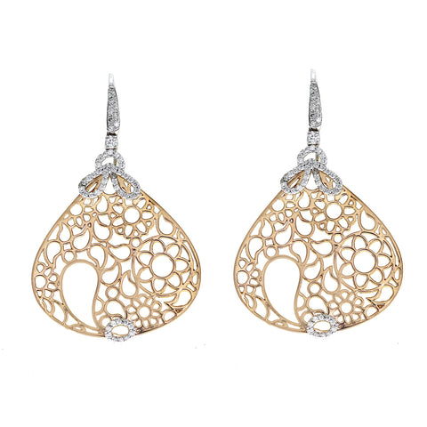 0.42 CT G SI1 Diamonds in 18K Rose & White Gold Teardrop Drop Earrings