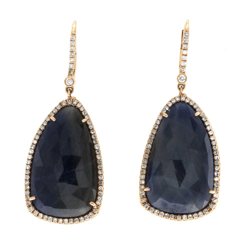 Rose Cut Sliced 15 CT Blue Sapphire 0.51 CT Diamonds 14K Rose Gold Dangle Earrin