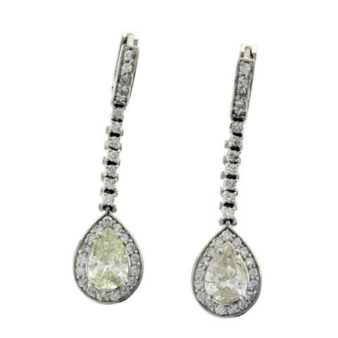 5.10 CT Diamonds in 18K White Gold Drop Earrings