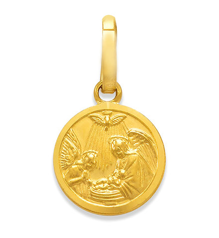 Fine 14k Gold Italian Baptism Charm 10 MM to 16 MM Width