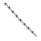 14.25 CT Natural Blue Sapphire & 1.45 CT Diamonds 18K White Gold Bracelet 7.5""