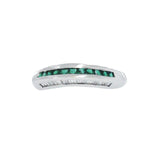 0.38 Emerald & 0.27 CT Diamonds in 18K Gold Wedding Band Ring