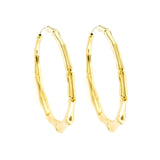 "Auth GUCCI 18K Yellow Gold Large Bamboo 2.2"" Hoop Earrings »U421"