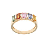 0.06 Multi Sapphires & 0.13 CT Diamonds in 18K Gold Wedding Band Ring