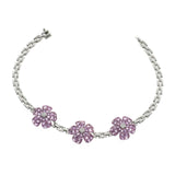 20.35 CT Natural Pink Sapphire & 0.38 CT Diamonds 18K White Gold Bracelet 7.5""