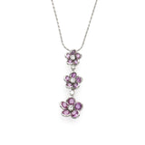 0.63 CT Diamonds 5.68 CT Pink Sapphire 14K White Gold Flower Necklace 16""