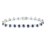 8.60 CT Natural Blue Sapphire & 2.02 CT Diamonds 18K White Gold Bracelet 7""