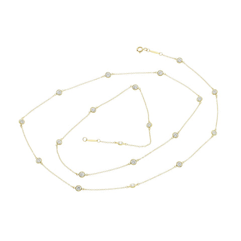 Tiffany & Co. 18K Gold Elsa Peretti 2.80 CT 20 Diamonds By Yard Necklace $17000