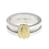 Tiffany & Co. 925 Sterling Silver 18K Gold Atlas Groove Band Ring Size 7