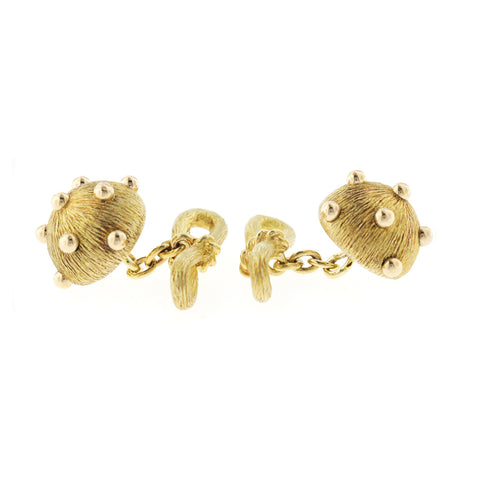 Auth Tiffany & Co. 18k Yellow Gold Jean Schlumberger Dome Dots Cufflinks