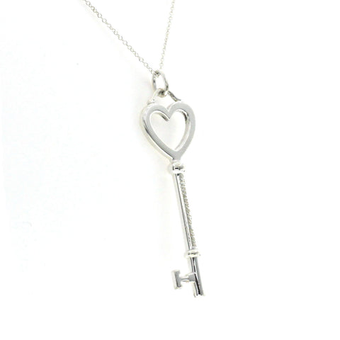 "Auth Tiffany & Co 925 Sterling Silver 2"" Key Necklace Size 16"" »U112"