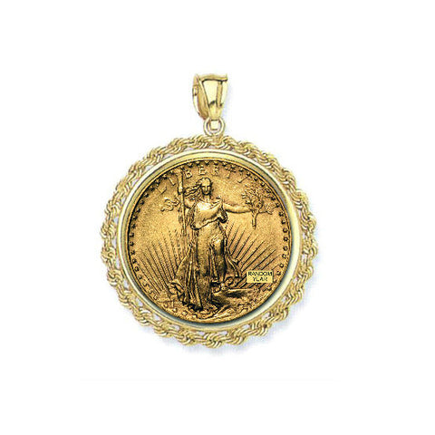 Fine 14K Yellow Gold $20.00 Dollar Saint Gaudens Double Eagle Rope Pendant