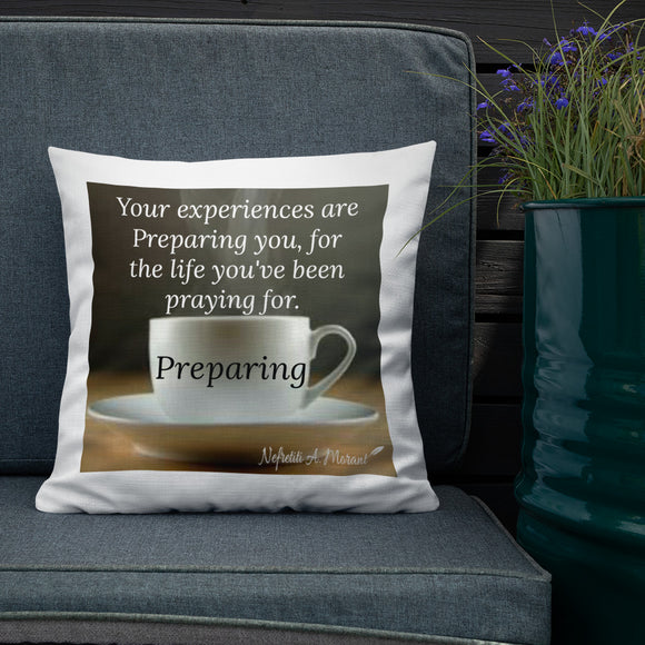 Sips of Inspiration Premium Pillow (Preparing)