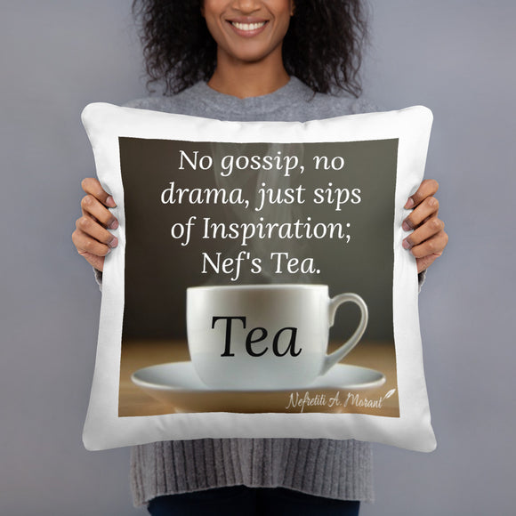 Sips of Inspiration Basic Throw Pillow (Tea)