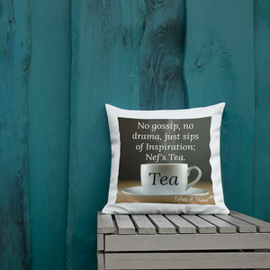 Sips of Inspiration Premium Throw Pillow (Tea)